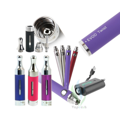 Kanger Evod2 Atomizer (Pink, Blue, & Purple) with Evod Twist eGo Mod (Silver, Stainless, Red, & Purple) and eGo USB charger